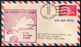 FIRST AIRMAIL FLIGHT PAN AMERICAN WORLD AIRWAYS. WAKE ISLAND TO SAIGON. 24 MEI 1953.