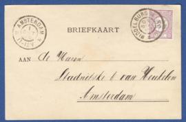 Firma briefkaart MIDDELBURG 1896 met grootrondstempel MIDDELBURG naar AMSTERDAM.