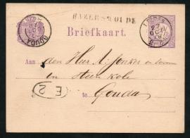 G - Briefkaart met langstempel HAZERSWOUDE en kleinrondstempel LEIDEN naar GOUDA.
