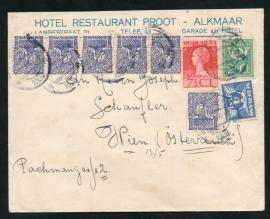 Firma cover ALKMAAR 1925 met kortebalkstempel ALKMAAR naar Oostenrijk. Leuke frankering met sluitzegel.