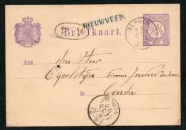 G - Briefkaart met langstempel NIEUWVEEN en kleinrondstempel ALPHEN naar GOUDA.