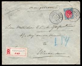 Cover met grootrondstempel NOORDDIJK (GRON.) naar WERKENDAM. Aangetekend, waarde, verzegeld met lak.