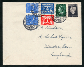 Cover met kortebalkstempel AMSTERDAM CENTRAAL STATION naar Bicester, Engeland.