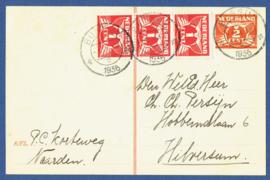 G - Briefkaart met bijfrankering van BUSSUM naar Hilversum.