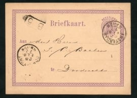 G - briefkaart met 2-letterstempel AMSTERDAM naar DORDRECHT. Firmastempel BRANDVERZEKERING MAATSCHAPPIJ EUROPA.