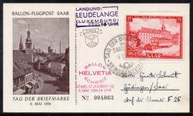 Saar. Eerste dag kaart met ballonpost. 9 Mei 1954.