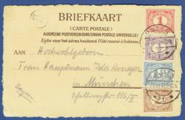 Briefkaart met langebalkstempel VAALS naar Munchen. Op ansichtkaart VAALS Hotel-Restaurant Franz Geller. Hartelijk gegroet uit VAALS (Holland).