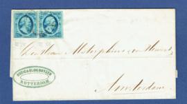 ROTTERDAM 1857. Vouwbrief met dubbel frankering NVPH 1. Met halfrond ROTTERDAM C naar AMSTERDAM.