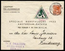 Luchtpostcover Per Zilvermeeuw speciale kerstvlucht 1933 AMSTERDAM-BATAVIA van Beek naar Buitenzorg.
