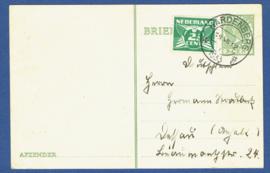 G - Briefkaart met bijfrankering van HARDENBERG naar Duitsland.