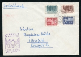 Cover met I.T.E.P. serie. Eerste dag afstempeling UTRECHT verzonden naar Duitsland. ITEP 1952.
