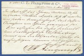 Particulier postwaardestuk ROTTERDAM 1885, C.L. Ringrose & Co. ROTTERDAM naar Duitsland.