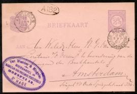 G - Briefkaart met kleinrondstempel `s GRAVENHAGE naar AMSTERDAM.