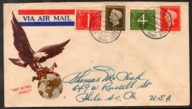 """Luchtpostcover met kortebalkstempel AMSTERDAM - CENTRAALSTATION naar USA. Vintage / propaganda cover. """"NOT SO FAST ADOLF!""""."""