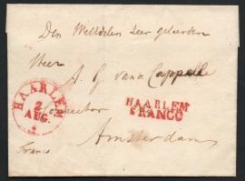 HAARLEM 1835. Briefomslag met rondstempel HAARLEM zonder jaartal en HAARLEM FRANCO naar AMSTERDAM.
