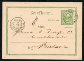 G - Briefkaart met kleinrondstempel CHERIBON naar Batavia.