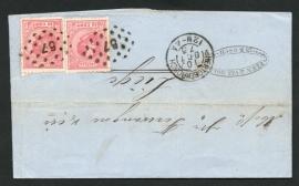 Puntstempel 57 met 2-letterstempel 's HERTOGENBOSCH op firma vouwbrief naar België.