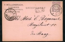 Firma briefkaart ROERMOND 1898 met grootrondstempel ROERMOND naar DEN HAAG.