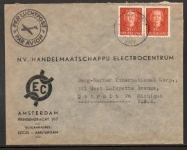 Firmacover / Luchtpostcover met kortebalkstempel AMSTERDAM naar U.S.A.