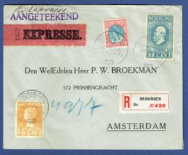 Aangetekende expresse cover met mengfrankering jubileum 1913 en jubileum 1923 en bontkraag van GRONINGEN naar AMSTERDAM.