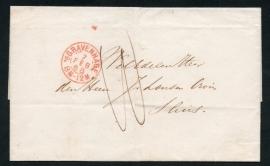 `s GRAVENHAGE 1868. Briefomslag van`S GRAVENHAGE naar SLUIS.