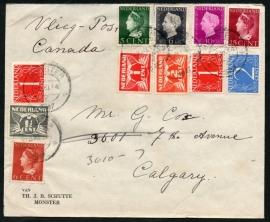 Luchtpostcover met kortebalkstempel MONSTER naar Canada.