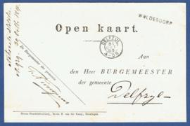 Open kaart met langstempel WOLDENDORP naar DELFZIJL. (Verlofgangers)