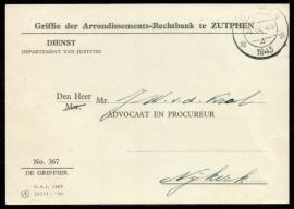 Dienst Griffe der Arrondissements-Rechtbank te ZUTPHEN met kortebalkstempel ZUTPHEN naar Nijkerk.