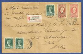 Aangetekende firma cover met jubileum 1913 en jubileum 1923 van AMSTERDAM WATERGRAAFSMEER naar PERBAOENGAN, Nederlands Indië.