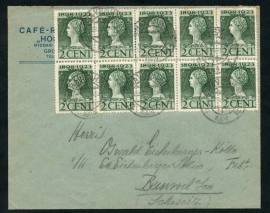 Firma cover 's GRAVENHAGE 1924 met kortebalkstempel 's GRAVENHAGE naar Zwitserland. ( jubileum '23 in veldeel van 10)