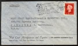 Firmacover / luchtpostcover met vlagstempel `s GRAVENHAGE naar USA.