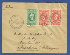 Cover met jubileum 1913 met censuur van 's GRAVENHAGE naar Merksem, België.