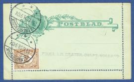 Postblad G 4 met bijfrankering met langebalkstempel St. MAARTENSDIJK naar DELFT.