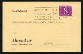 Firma briefkaart ARNHEM 1963 met vlagstempel ARNHEM-STATION naar Loenen