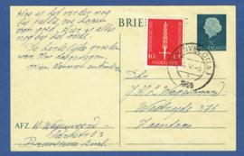 G - Briefkaart met bijfrankering met kortebalkstempel SCHINVELD (Lb.) naar Zaandam.