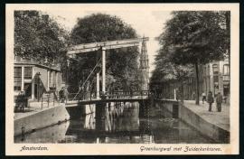 AMSTERDAM, Groenburgwal met Zuiderkerktoren. Gelopen kaart.
