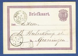 G - Briefkaart uit Veendam naar GRONINGEN. Met traject stempel HARL: -WINSCH: (takje).