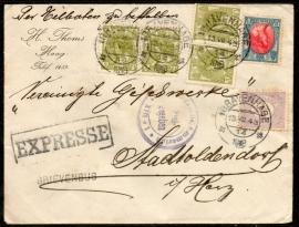 Cover met kortebalkstempel `s GRAVENHAGE naar Duitsland. Met EXPRESSE, FREI GEGEBEN en BRIEVENBUS stempel