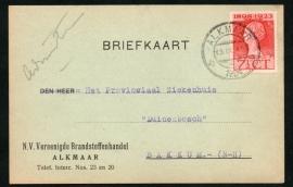 Firma briefkaart ALKMAAR 1924 met kortebalkstempel ALKMAAR naar Bakkum.