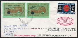 Geurnsey. Postal Strike cover. Van Geurnsey naar Bournemouth, Engeland. 1971.