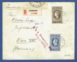 Aangetekende censuur cover met jubileum 1913 van GRONINGEN naar Wenen, Oostenrijk.