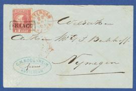 Cover met 2-letterstempel AMSTERDAM (rood) naar NIJMEGEN.