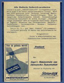 Firma briefkaart SLOTERDIJK / STUTTGART 1920 met automaatstempel AMSTERDAM naar Joure. Geïllustreerd.