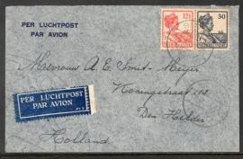 Luchtpostbrief met langebalkstempel BLITAR naar Den Helder.