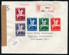 Censuur cover met serie kinderzegels 1947, aangetekend van ASSEN naar Oosterijk.
