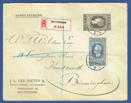 Firma cover ROTTERDAM 1915 met jubileum 1913 met langebalkstempel ROTTERDAM naar Birmingham, Engeland. Aangetekend.