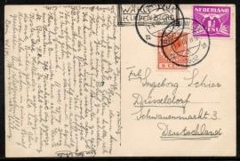 Briefkaart met kortebalkstempel BEVERWIJK naar Duitsland. Op ansichtkaart Haarlem, Groote Markt.