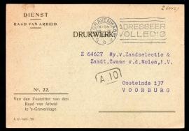 Dienst, Raad van Arbeid met vlagstempel 's GRAVENHAGE naar Voorburg.