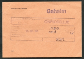 Dienst, Ministerie van Defensie. Geheim cover met lak verzegeld. 15 October 1985.