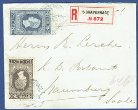 Aangetekende cover met jubileum 1913 van 's GRAVENHAGE naar Naumburg Saale, Duitsland.